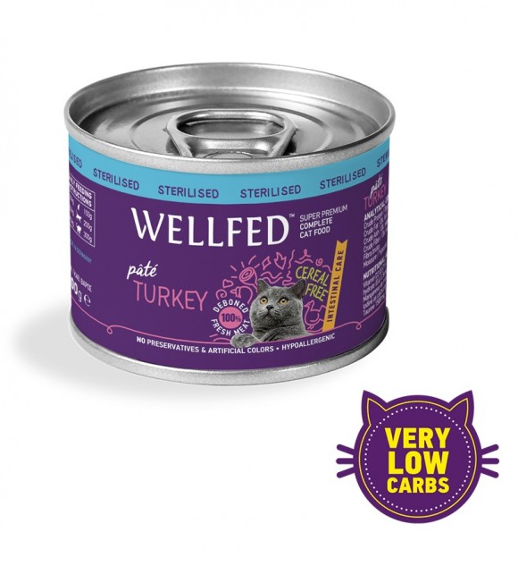 Pet Interest Wellfed Sterilised Intestinal Care Monoprotein Formula Only Turkey (6 Cans)