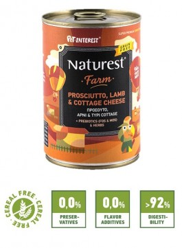 Pet Interest Naturest Farm Formula with Lam, Prosciutto and Cottage Cheese (6 Cans)