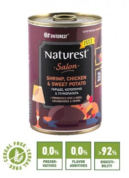Pet Interest Naturest Salon Formula With Chicken, Shrimps and Sweet Potatoes (6 Cans)
