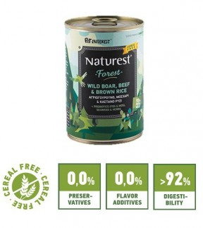 Pet Interest Naturest Forest formula with Wild Boar, Beef and Brown Rice (6 Cans)
