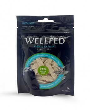 Pet Interest Wellfed Healthy Snacks Fish and Catnip Mini Fillets for Cats