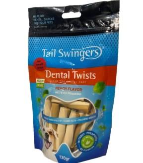 Pet Interest Tail Swingers Dental Twists - Peach Flavor Small Bites