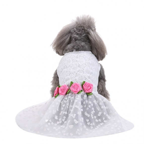 Pets. Love. Earth White Pet Dress With Rose
