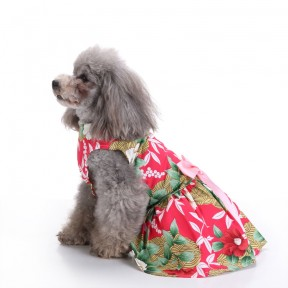 Pets. Love. Earth Flower Printed Dress With Pink Bowknot