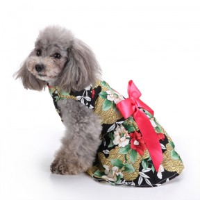 Pets. Love. Earth Flower Printed Dress With Red Bowknot