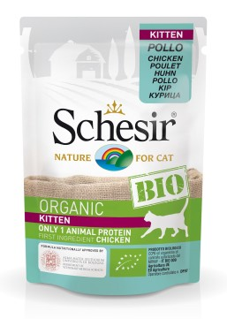 Schesir Bio Organic Kitten Food with Pollo Chicken (16 Pouches)