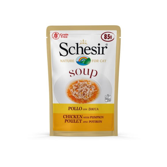 Schesir Cat Food with Chicken and Pumpkin in Soup (20 Pouches)